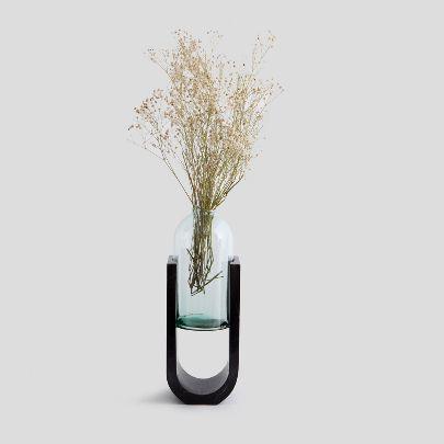 تصویر گلدان چمانه مرمریت مشکی
