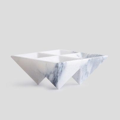 تصویر  ظرف سرو چارگود مرمریت سفید