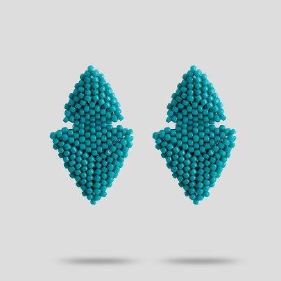 تصویر گوشواره آبی فیروزه ای آکو