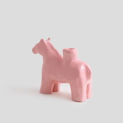 Picture of Pink horse candlesticks