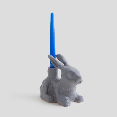Picture of Grey rabbit candlesticks
