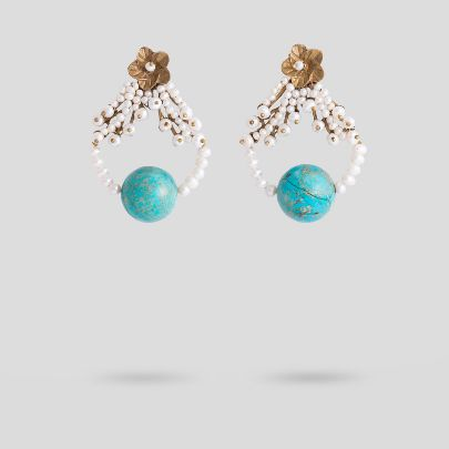 Picture of Flower and turquoise earrings