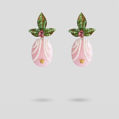 Picture of  Leaf  with pink antique earrings