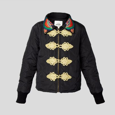 Picture of black bomber jacket with embroidary