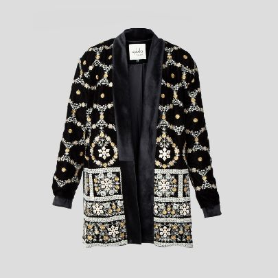 Picture of Studded effect black velvet blazer