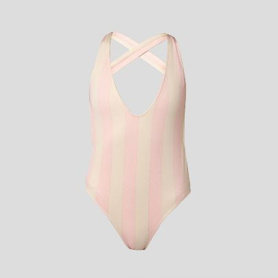 Picture of Pink striped cream swimsuit