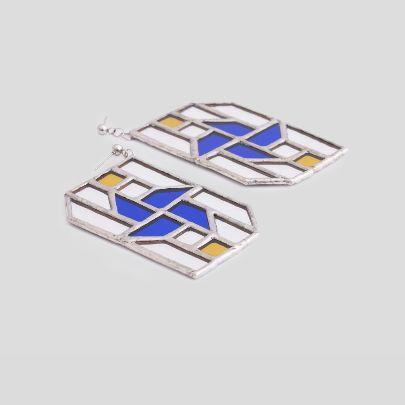 تصویر  گوشواره فرفره آبی