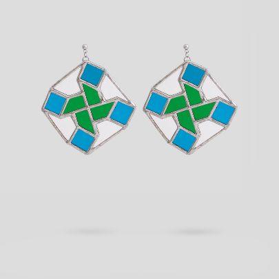 تصویر  گوشواره هشت سبز و آبی