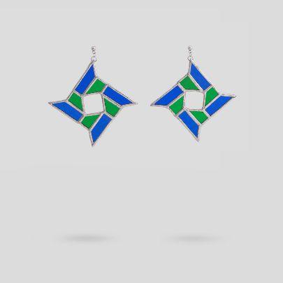 تصویر گوشواره چهارپر آبی سبز