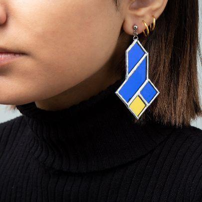 تصویر  گوشواره سه سلی آبی زرد
