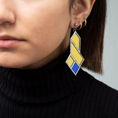 تصویر  گوشواره سه سلی زرد آبی