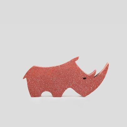 Picture of orange rhino statue