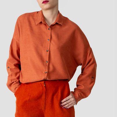 تصویر آستین بلند ساده نارنجی