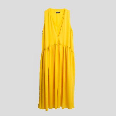 تصویر پیراهن بدون آستین ساده زرد