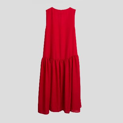 تصویر پیراهن بدون آستین ساده قرمز