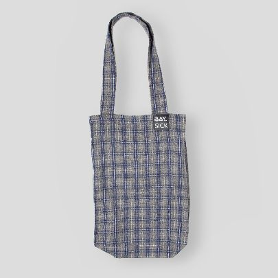Picture of gray and blue check bag