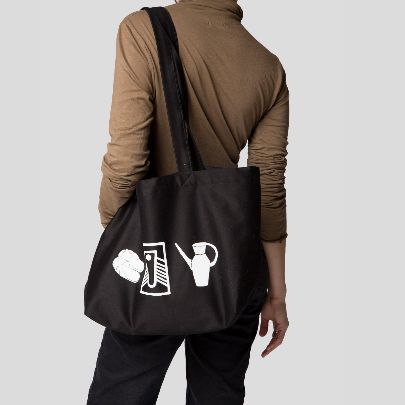 Picture of black toilet tote bag