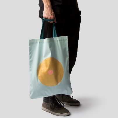Picture of light blue tote bag
