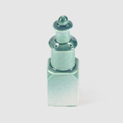 تصویر نمکدان سرامیکی سبز آبی کوچک
