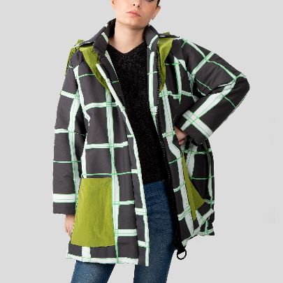 Picture of green pleated check jacket
