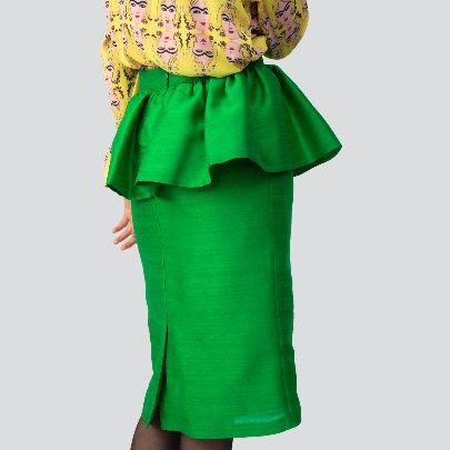 تصویر دامن سبز پیلی دار