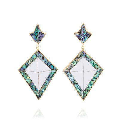 Picture of blue green diamond earrings