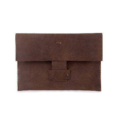 تصویر کیف دستی چرم قهوه ای