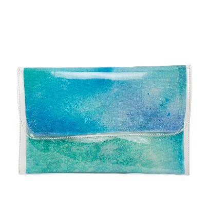 تصویر کیف دستی آبرنگی آبی سبز بزرگ
