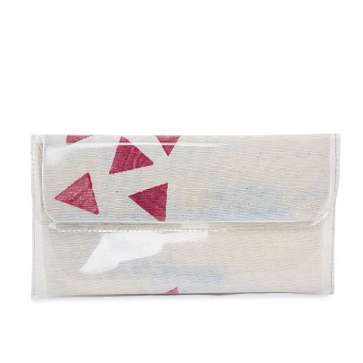 Picture of small size red and white handbag