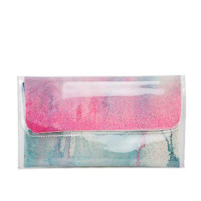 تصویر کیف دستی آبرنگی صورتی آبی متوسط