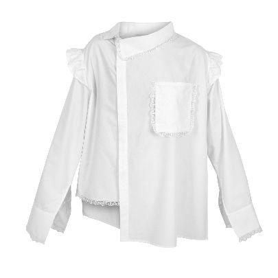 تصویر آستین بلند سفید جیب دار