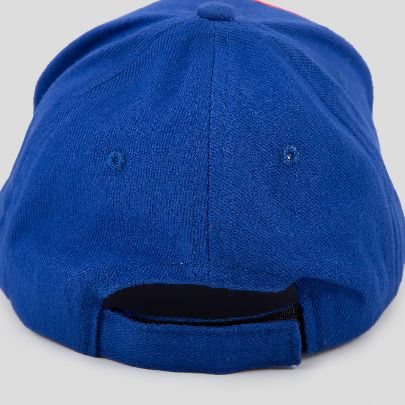 تصویر کلاه آبی کاربنی با طرح صورت نارنجی