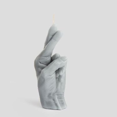 Picture of grey finger crossed candle