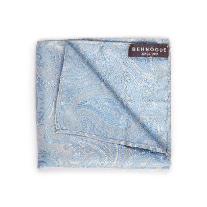 تصویر دستمال جیبی طرحدار آبی سفید