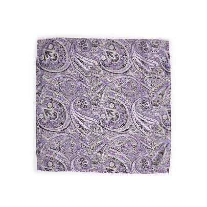 تصویر دستمال جیبی طرحدار بنفش و مشکی