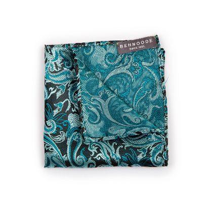 تصویر دستمال جیبی طرحدار فیروزه ای
