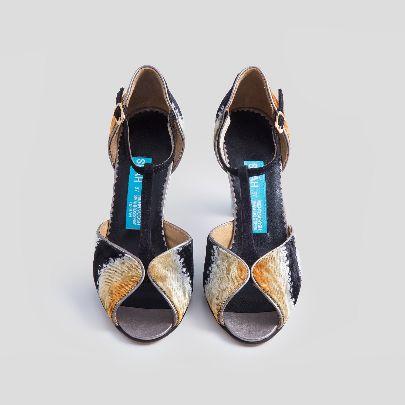 Picture of velvet orange & blue high heels