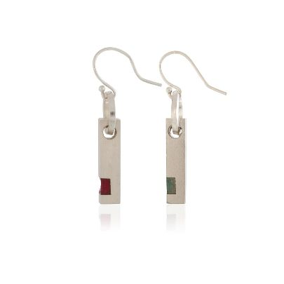 Picture of pasha moezzi red and green sterling silver earrings