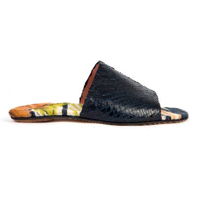 Picture of mehrnoosh shahhosein men dark blue snake skin sandals
