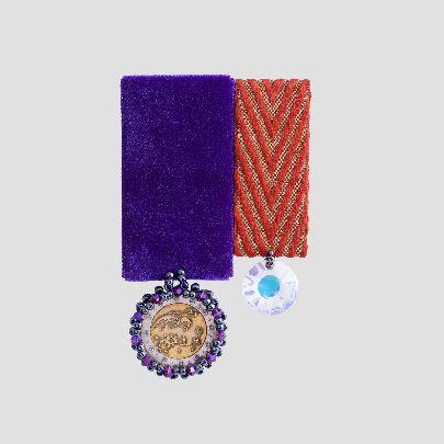 تصویر مدال دوقلو بنفش نارنجی