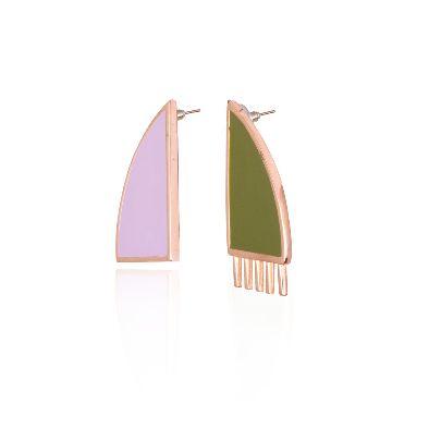 تصویر گوشواره دو رنگ از مجموعه شانه