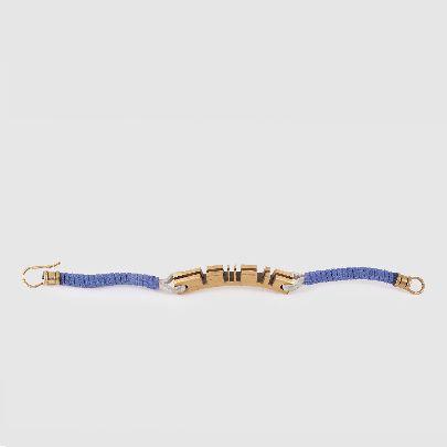 تصویر دستبند برنجی تمام شیار با چرم آبی