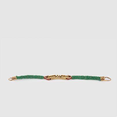 تصویر دستبند برنجی تک شیار با چرم سبز