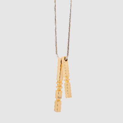 تصویر گردنبند 2 تایی نقره ای طلایی