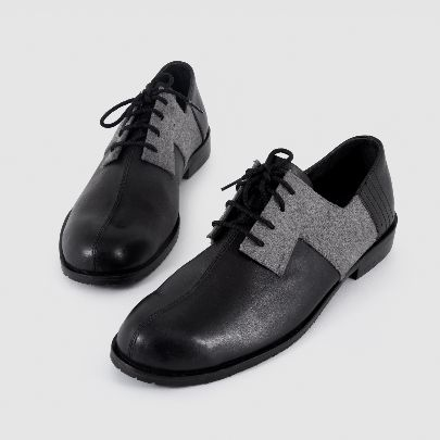 Picture of black and grey leather zhiyan shoe