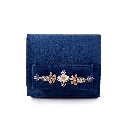Picture of dark blue suede bag