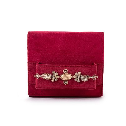 Picture of red suede bag