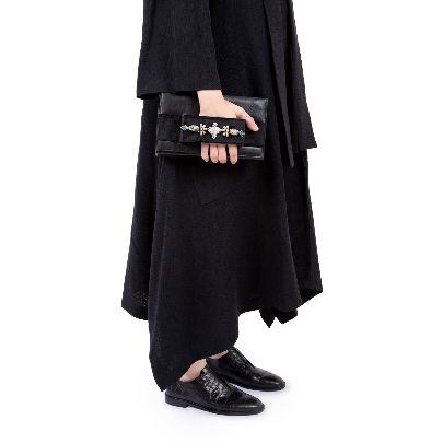 Picture of black leather and suede bag