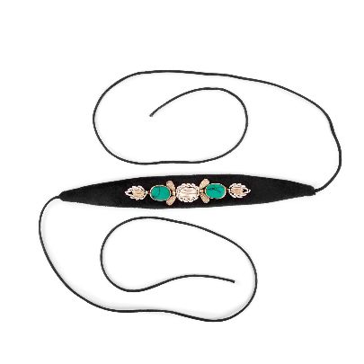 Picture of black velvet choker with cyan stone