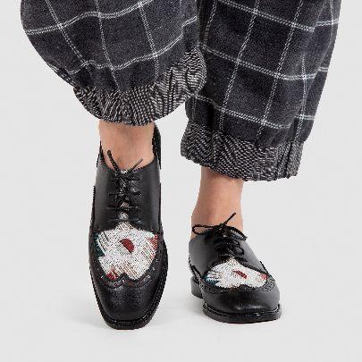 تصویر کفش بندی چرم مشکی